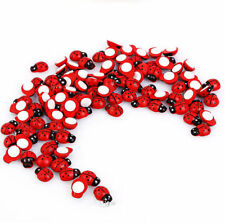 100 Mini Wooden Party Decorations Craft Fridge Sticker Ladybird Ladybug Style