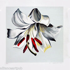 """""""WHITE LILY ON WHITE"""" Beautiful Rare Floral S/N Mint Serigraph By Lowell Nesbitt"""