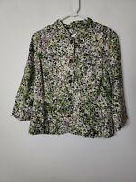 Christopher & Banks Women's Button Front Blouse Size PM Petite Medium Brown Grn