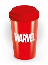 Marvel Comics Logo Doppia Parete Ceramica Viaggio Tazza Con Tappo In Silicone