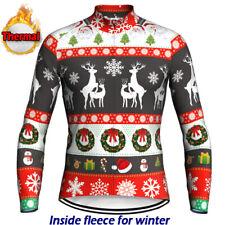 Christmas Winter Thermal Jacket Cycling Jersey Bike Shirt Bicycle Warm Clothing