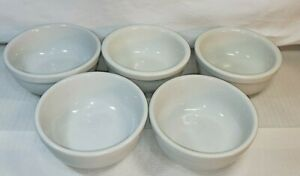 Set of 5 Williams and Sonoma Chili/Soup white Porcelain Bowls Oven Safe
