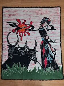 """Chinese """"tapestry"""" fabric ink print. wall hanging."""