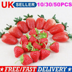 UK Artificial Strawberry Fake Fruit Display Kitchen Home Food Table Decorations