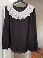 Smart Pretty Atmosphere Black Top, Cream Lace Frill to Neck, Size 8, VGC