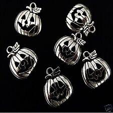 20 Tibetan Silver Pumpkin Pendant Charms Halloween Gothic 18mm x 16mm