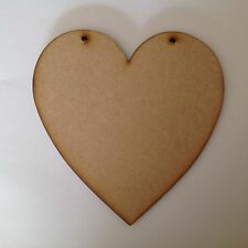6 X Large wooden hearts 20cm,6mm thick with two holes.