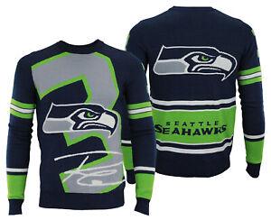 FOCO NFL Men's Seattle Seahawks Russell Wilson #3 Loud Player Sweater