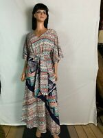 Vtg Tony Krupa Maxi Long Dress w Sash Multi-Color African Geometric Print M/L