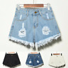 Women Ripped High Waisted Stonewash Denim Shorts Jeans Beach Pants Plus Size