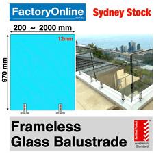 Glass Balustrade Panels 12mm Frameless Toughened Clamp Rail Fence Spigots Panel