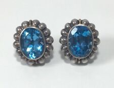 Lagos Caviar Blue Topaz Earrings  in Sterling Silver and 18k Yellow Gold
