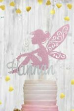 Personalised Girls Fairy Queen Cake Topper Pink Glitter Princess Name Ladies