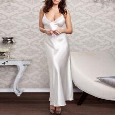 Women Long Nightgown Satin Silk Lace Robe Dress Sleepwear Lingerie Nightdress