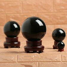 Black Obsidian Crystal Ball Sphere with Stand for Meditation Healing 5/6/7/8 CM