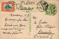 CHINA 1909 Dragon Postal Card Cover Hsuan Tung Nanking to Hamburg Germany