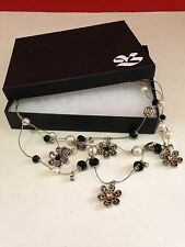 BETSEY JOHNSON Necklace 3 LAYER BLACK AND LEOPARD FLOWER NECKLACE in gift box