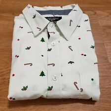 Eighty Eight Button Front Christmas Candy Cane White Shirt Men's Sz L