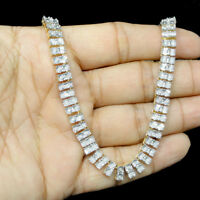 2 Row Necklace Genuine Diamond Chain Men's Gold Tone Sterling Silver 1.50 Ct 38""