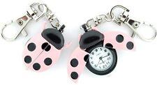 NEW GENEVA 3D PINK & BLACK LADYBUG KEY CHAIN RING,FOB WATCH