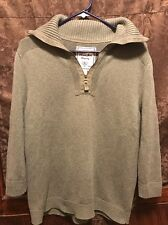 LAUREN Jeans Co Ralph Lauren ~ Womens XL ~ 1/4 Zip Military Olive Cotton Sweater