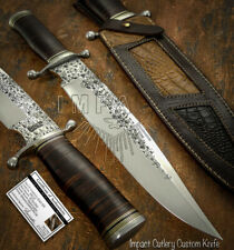 IMPACT CUTLERY RARE CUSTOM D2 MASSIVE HAMMERED BOWIE KNIFE STACKED LEATHER