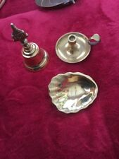 Vintage Brass Bell, Mini Chamber Candlestick Holder And Shell Ashtray