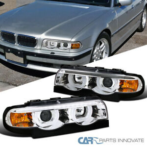 For 95-01 BMW E38 7-Series 740i 740iL 750iL Clear Iced Halo Projector Headlights