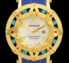 Limited to 50 New Ladies Xoskeleton Superlative Star Swiss Gold Blue 41mm Watch