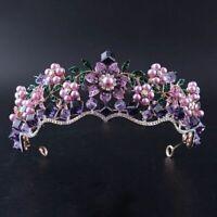 Trendy Women Purple Crystal Pearl Bridal Crown Tiara Magnificent Rhinestone Hair