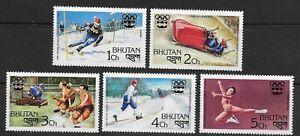 BHUTAN , 1976 , 12th WINTER OLYMPIC  , SPORTS , SET OF 5 , PERF , MNH