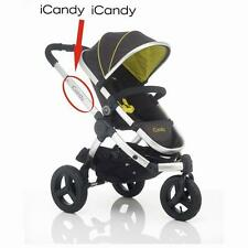 2x NEW style iCandy Replacement Chassi Logo Sticker black or colour  i Candy