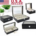 US 2/3/4/5/6/8/10/20 Grid Watch Box Holder Display Case Leather Jewelry Storage
