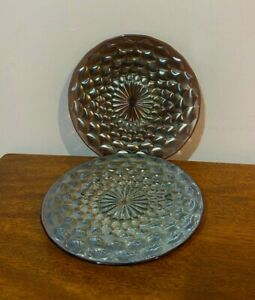 Two Amethyst Westmoreland Carnival Glass Plates Scales