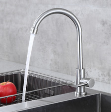 New 304 Stainless Steel Single Only Cold Water Tap Faucet , Brushed Nickel
