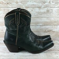 Ariat Lovely Blue Grass Womens 9 Green Leather Zip Up Comfort Western Boots