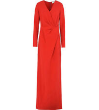 LANVIN Red Twist Front Long Sleeve Dress Gown 40 8