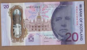 BANK OF SCOTLAND FIRST PREFIX £20   [ AA 615449 ] FREEPOST RECORDED UK