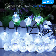30 LED Solar Powered Crystal Ball String Lights Strip Light Christmas Cold White