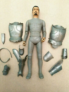 """VINTAGE 1968 MARX NOBLE KNIGHT SERIES SIR STUART SILVER KNIGHT 12"""" ACTION FIGURE"""