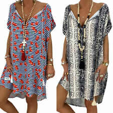 Womens Plus Size Deep V Neck Snake Print Short Sleeve Party Shirt Tunic Dress