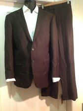 Paul Betenly Suit Sz 42 Brown Pinstriped