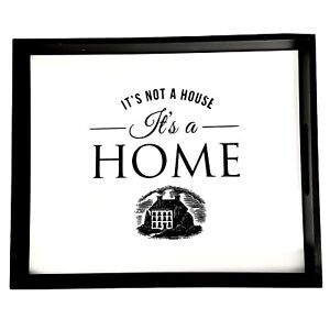 Mainstays Black & White It's Not A House It's A Home Wood Tray With Handles
