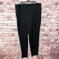 ISAIA Napoli Gianluca Men's Aquaspider Wool Pleated Dress Pants Black Sz 42