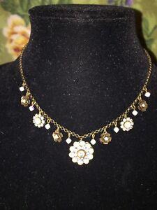 "❤️LIZ PALACIOS 16-18"" SWAROVSKI Opal Aurora Borealis Crystals Antiqued Brass"