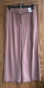 Ex Evans NEW Pink Wide Leg Belted Work Trousers Regular Plus Size 22- 28 RRP=£32
