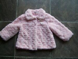 Girl's Pink Fluffy Winter Jacket/Coat Size 1 VGUC