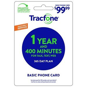 TRACFONE WIRELESS  Prepaid $99.99  Refill  400 MINUTES 1 YEAR SERVICE PIN EMAIL