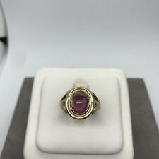Vintage 14k yellow gold oval pink tourmaline cabochon ring natural hand crafted