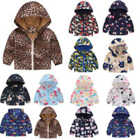 Toddler Kids Baby Girls Boys Spring Autumn Floral Print Hooded Coat Jacket Tops
